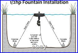 1/2 hp Pond Fountain for Lake Aeration with Light Kit Options