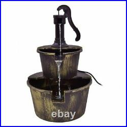 2 Tiers Outdoor Barrel Waterfall Fountain with Pump