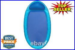 6038957 Water Hammock Styled Spring Swimming Pool Float Blue Recliner Blue
