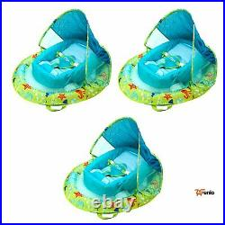Blue Inflatable Infant Baby Spring Swimming Pool Float With Canopy 3 Pack Rsen
