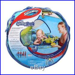 Blue Round Vinyl Baby Spring Float Activity Center Pool Raft with Sun Canopy