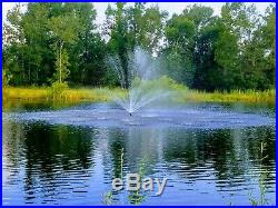 Floating Pond or Lake Fountain 1/2 HP 115V, 3 Bright White Lights, 75' Cable