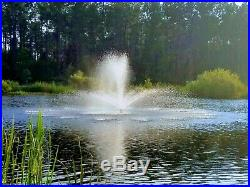 Floating Pond or Lake Fountain 1 HP 115V, 3 Bright White Lights, 100ft Cable