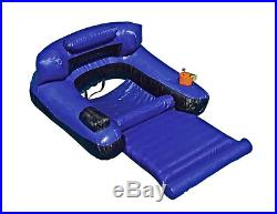 Inflatable Swimming Pool Float Lounger Spring Drink Holder Raft Chair Blue
