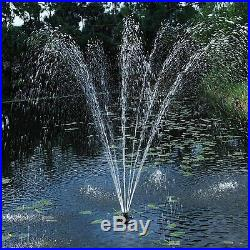 Pond Floating Fountain 1/4HP Lights Water Effects Pump Float Body Mooring Lines