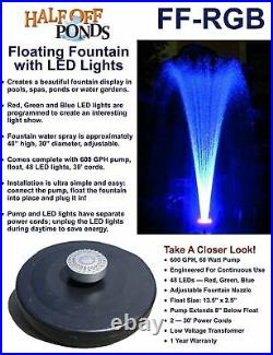 Small Color Changing Floating Fountain with LED Lights Red, Green, Blue 600GPH