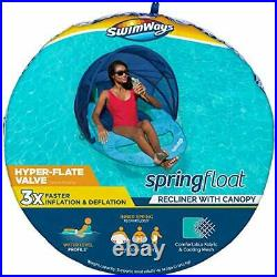 Spring Float Recliner Inflatable Pool Lounger with Canopy and Hyper-flate Aqua