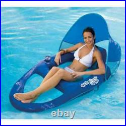 Spring Float Recliner Swimming Pool Lounge Chair Sun Canopy Lounger Blue 4 Pack