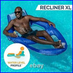 Spring Float Recliner XL Inflatable Pool Lounger with Hyper Hyper-flate Blue