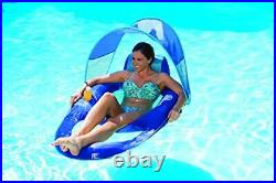 Spring Float Recliner with Canopy Swim Lounger for Pool or Lake, Blue