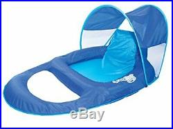 Spring Float Recliner with Canopy Swim Lounger for Pool or Lake Canopy Blue