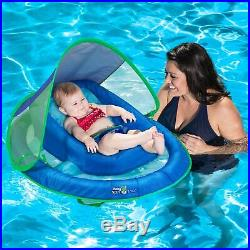 SwimWays Inflatable Infant Baby Spring Pool Float with Canopy, Blue (3 Pack)