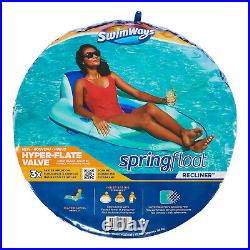 SwimWays Inflatable Twist and Fold Spring Recliner Pool Float, Aqua (2 Pack)