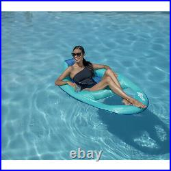 SwimWays Inflatable Twist and Fold Spring Recliner Pool Float, Aqua (4 Pack)