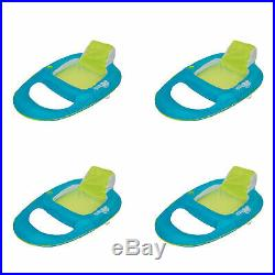 SwimWays Spring Float Inflatable Recliner Pool Lounger, Aqua/Lime (4 Pack)