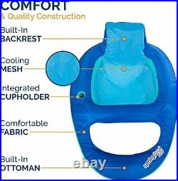 SwimWays Spring Float Recliner Pool Lounge Chair with Hyper-Flate Valve Blue