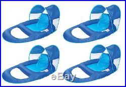 SwimWays Spring Float Recliner Pool Lounge Chair with Sun Canopy (4-Pack)