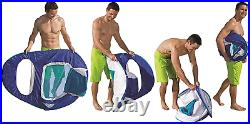 SwimWays Spring Float Recliner Pool Lounge Chair with Sun Canopy, Blue 13022