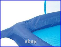 SwimWays Spring Float Recliner Pool Lounge Chair with Sun Canopy, Blue (3 Pack)