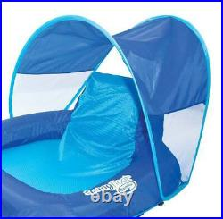 SwimWays Spring Float Recliner Pool Lounge Chair with Sun Canopy, Blue (4 Pack)