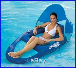 SwimWays Spring Float Recliner Pool Lounge Chair with Sun Canopy, Blue (6 Pack)