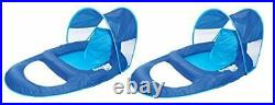 SwimWays Spring Float Recliner Pool Lounge Chair withSun Canopy Blue 2 Pack