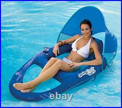 SwimWays Spring Float Recliner Pool Lounge Chair withSun Canopy, Blue (2 Pack)