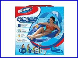 SwimWays Spring Float Recliner Pool Lounger with Canopy Dark Blue / Light Blue