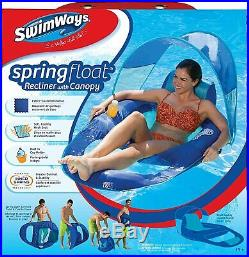 SwimWays Spring Float Recliner With Canopy Swim Lounger For Pool Or Lake