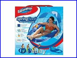 SwimWays Spring Float Recliner with Canopy Swim Lounger for Pool or Lake Blue