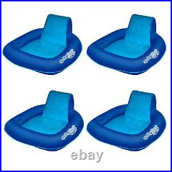 SwimWays Spring Float SunSeat Pool Summertime Relaxation Lounger, Blue (4 Pack)