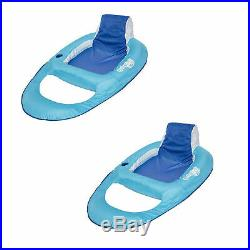 SwimWays Swimming Pool Spring Float Water Recliner with Headrest, Blue (2 Pack)