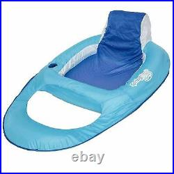 SwimWays Swimming Pool Spring Float Water Recliner with Headrest, Blue (4 Pack)