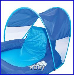 Swimming Pool Lake Mesh Spring Float Raft Lounger Recliner with Canopy Cup Holders