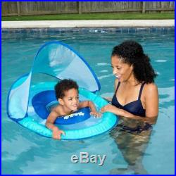 Swimways Baby Infant Spring Float Canopy Blue Swimming Pool Float Outdoor Fun