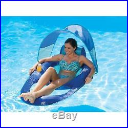 Swimways Spring Float Recliner Swimming Pool Floating Lounger W Canopy 2 Pack