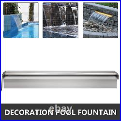 Waterfall Pool Fountain Stainless Steel Cascade Swimming Pool Decor Garden Pond